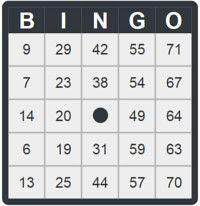 zwarte bingokaart