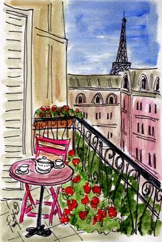 Pink Chair Balcony painting by Fifi Flowers