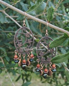 Copper and Green jewelry. Forest Leaves Woodland long dangle chandelier earrings. by MoonlitMemory on Etsy.