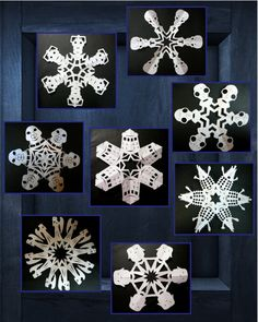 Time to repin these again!  An assortment of my Doctor Who snowflakes.  Top to bottom: Silence, Cybermen, the Empty Child, Slitheen, TARDIS, Dalek, Weeping Angels, and Adipose.