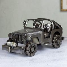 Auto part statuette, 'Rustic Off-Road Jeep' - Artisan Crafted 4 x 4 Metal Recycled Auto Parts Sculpture Welding Art Projects, Metal Art Projects, Metal Crafts, Diy Projects, Blacksmith Projects, Metal Sculpture Artists, Steel Sculpture, Art Sculptures, Sculpture Ideas