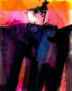 """Abstract Watercolor Painting - Original Pink Orange Purple Blue art painting """"Watercolor Abstraction 123""""  by Kathy Morton Stanion EBSQ"""