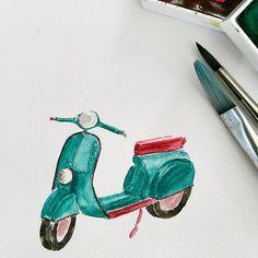 Scooter love 💟  #watercolor #watercolorph #aquarelle #inspiring_watercolors #illustration