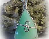 Light Green Chrysoprase Wire Wrapped Pendant By Superior Agates