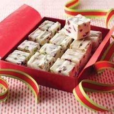 white fudge Cranberry-Pistachio Fudge Recipe from Land O'Lakes Homemade Fudge, Homemade Candies, Christmas Sweets, Christmas Candy, Christmas Fudge, Christmas Goodies, Christmas Time, Fudge Recipes, Candy Recipes