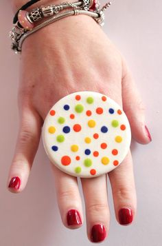 Neon Ring Ceramic   big oversize bold handmade by StudioLeanne, $30.00
