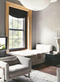 grey walls with natural wood trim