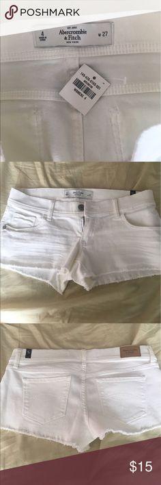 White Abercrombie short shorts Never worn Abercrombie white short shorts with frayed bottoms Abercrombie & Fitch Shorts Jean Shorts