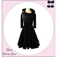 The Last Dress Dress Gothic With Collar Scarf Black Cherrys Store ($111) ❤ liked on Polyvore featuring black, dresses and women's clothing