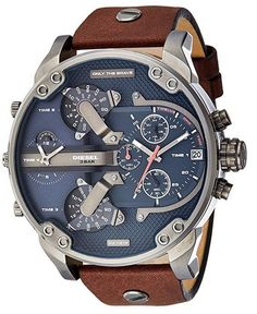 Diesel watch - Diesel Men's Mr Daddy 2 0 Quartz Stainless Steel and Leather Chronograph Watch, Color Grey, Brown (Model Best Kids Watches, Cool Watches, Unique Watches, Women's Watches, Sport Watches, Stylish Watches, Luxury Watches For Men, Diesel Watches For Men, Mens Designer Watches