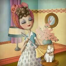dusting the cat, illustration, Nina de san