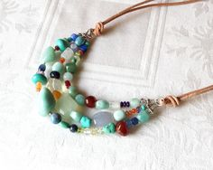 Tumbled Stone Necklace Southwest Style with by NonaDesigns on Etsy