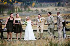 mismatched suits and bridesmaids dresses.