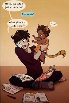 Nico babysitting frank and hazels kiddo .❤️