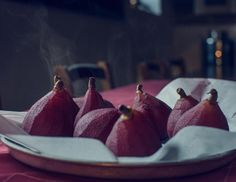 ... pears poached in red wine rosemary & juniper #thisisfall at our farmhouse! the red wine gives the peeled pears such a gorgeous color!! Then serve the beauties with the spiced wine reduction & a dollop of fresh whipped cream