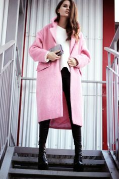 Pink Coat Street Style Inspiration | #sidesmilefaves-----been looking for a pink coat.  Love this!!!!