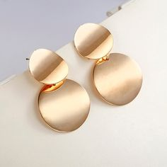 Trendy Unique Round Statement Metal Gold Color Drop Earrings for Women. #jewelry #GoldColorEarrings