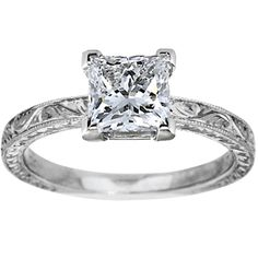 in love with this engraving, and the princess cut, I would love the tacori side setting (with the heart setting with this engraving