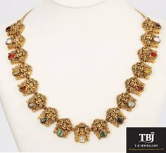 Antique Lakshmi Navarathna Necklace #tbjewellery #Goldenmoments #diamond #gold #girlslovediamond #jewellery #Navarathna #antique #necklace #Nagas #Southindianjewelry