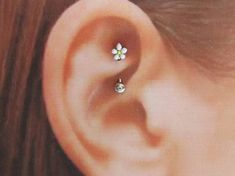Surgical Rook Piercing Plumeria Curved Barbell Ring..16g..8mm