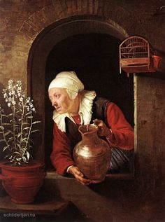 Gerrit Dou Old Woman Watering Flowers painting for sale, this painting is available as handmade reproduction. Shop for Gerrit Dou Old Woman Watering Flowers painting and frame at a discount of off. Rembrandt, Caravaggio, Moritz Von Schwind, Gerrit Dou, Kunsthistorisches Museum Wien, Baroque Painting, Kunst Online, Canvas Online, Dutch Golden Age