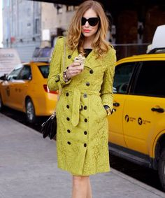 Burberry chartreuse lace trench coat.