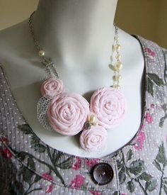 Pink Flower and Pearl Necklace by Objects and Subjects