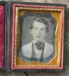 Ninth plate daguerreotype of a handsome youth in a white coat, image is in good overall with some border tarnish and a few tiny spots as shown, full case is intact and in great shape. Nice portrait. | eBay!