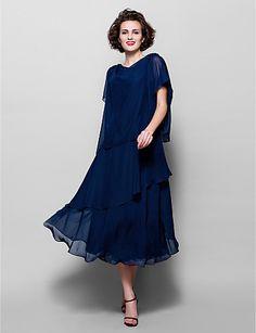A-line Plus Sizes Mother of the Bride Dress - Dark Navy Tea-length Short Sleeve Chiffon – USD $ 89.99