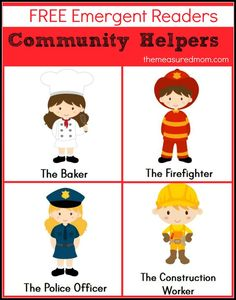 Are you teaching about community helpers in preschool or kindergarten?  Print these free community helpers emergent readers!