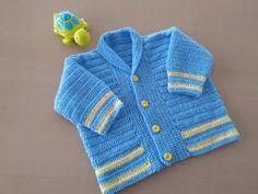 Como tejer en crochet o ganchillo un abrigo para bebés con cuello   aprender-crochet.com