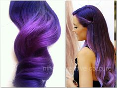 "Ombre Hair Extensions, Festival Hair, Purple Rain Ombre, Purple Hair, Bohemian Hair,(7) Piece, 18"", Katy Perry Inspired on Etsy, $245.00"