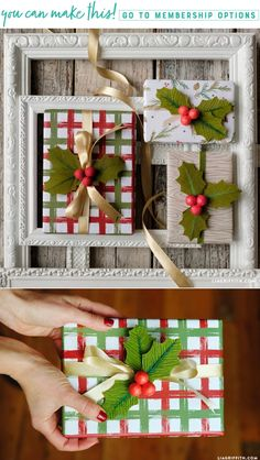 DIY Crepe Paper Holly Leaves with Berries - www.LiaGriffith.com #giftwrapping #christmasgiftwrap #gifttoppers #diychristmas #christmasdiy #holidaydiy #diyholiday