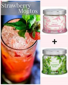 Create the scent of a Strawberry Mojito withour Garden Mint and Sweet Strawberry Jar candles #mix #match #sniff #smell #mojito #strawberry #mint #candle #fragrance #partylite