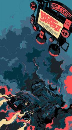 """「バック・トゥ・ザ・フューチャー PART2」バリアント Back to the Future Part II  Variant by Matt Taylor.  20""""x36"""" screen print. Hand numbered.  Edition of 175  Printed by D&L Screenprinting.  US$75"""