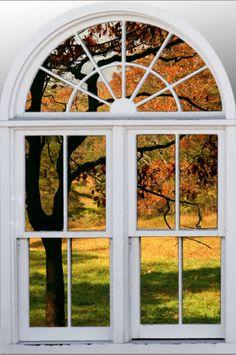 Wall mural window, self adhesive, View of Tennessee meadow- window view-large Window Above Door, Faux Window, Window View, Window Wall, Attic Window, India Home Decor, Wrought Iron Decor, Door Murals, Autumn Scenery