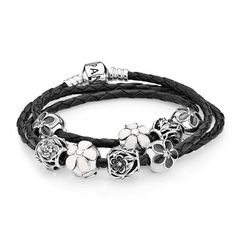 PANDORA Floral Clips and Charms on Braided Leather Bracelet......