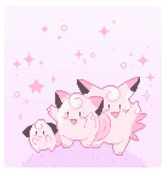 Cleffa, Clefairy, and Clefable Pokemon Pink, Cool Pokemon, Art Pokemon, Type Pokemon, Pokemon Cards, Types Of Fairies, Pokemon Images, Pink Aesthetic, Aesthetic Pics