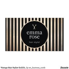 Vintage Hair Stylist Gold Black Stripes Scissors Salon Business Card