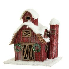 """The Jolly Christmas Shop - 11.5"""" Snowy Barn Figure, $34.99 (http://www.thejollychristmasshop.com/11-5-snowy-barn-figure/?page_context=category"""
