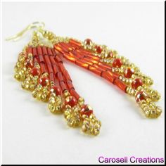 Ripples Delight Chandelier Beaded Dangling Earrings Red and Gold TAGS - Jewelry, Earrings, Beaded, carosell creations, pierced, accessories, red, gold, fringe, dangle, chandelier, glass, seed beads, weaving, beadweaver, glam, sophisticated, vintage, elegance, classy, hollywood, preppy, bugle, chic, bollywood, celebrity, ladies, eclastic ,chic, bling, etsy, woman, native american indian, southwestern