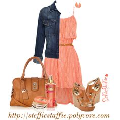 Coral Lace & Denim, created by steffiestaffie on Polyvore dress, skirt, outfit, summer time, shoes, bag, purse, girl, cute, sassy, night, first, date.