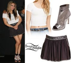 Ally Brooke posed with her bandmates and fans in Los Angeles wearing a Classic Crop Top ($6.90) ant the Beaded Trim Mini Skirt ($27.90) both from Forever 21, with a pair of BCBGeneration Chorus Booties ($64.99).