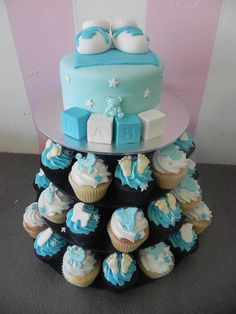 Boy Baby Shower Cupcake Tower