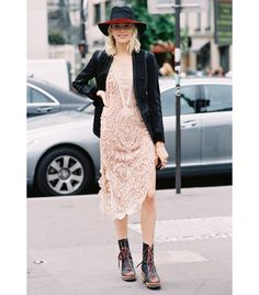 Street Style  MAKING LACE DRESSES WORK FOR FALL BY ADDING MOTO AND ANKLE BOOTS