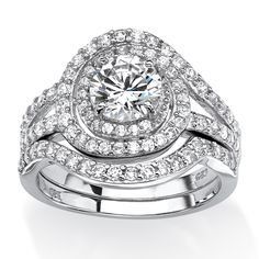 Palm Beach Jewelry PalmBeach Platinum over Sterling Silver 2 3/5ct Cubic Zirconia Wrap-around Halo Bridal Ring Set