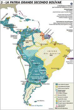 La patria grande secondo Bolívar South America Map, Latin America, Central America, Native American Men, American History, Federated States Of Micronesia, Country Maps, Alternate History, Historical Maps