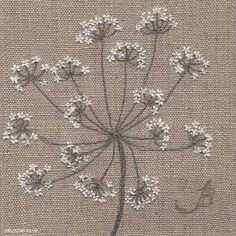 Cow Parsley on Linen, machine and hand embroidery by Jo Butcher Free Motion Embroidery, Hand Embroidery Patterns, Embroidery Art, Embroidery Applique, Cross Stitch Embroidery, Machine Embroidery, Fabric Art, Sewing Crafts, Needlework