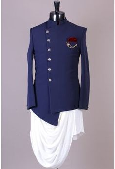 Navy asymmetric indo-western with white cowl kurta. Whatsapp on o. - Navy asymmetric indo-western with white cowl kurta. Whatsapp on or mail us on info. Mens Indian Wear, Mens Ethnic Wear, Indian Groom Wear, Indian Men Fashion, Mens Fashion Suits, Mens Suits, Men's Fashion, Wedding Dresses Men Indian, Wedding Dress Men