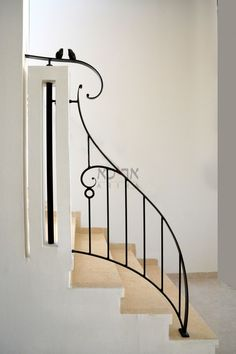 Outdoor Handrail, Wrought Iron Stair Railing, Stair Railing Design, Staircase Railings, My Home Design, Home Design Plans, House Design, Steel Bed Design, Window Grill Design